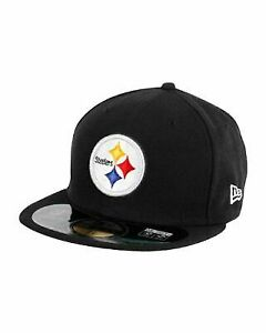5671f8757 Pittsburgh Steelers Era 59fifty Fitted Flat Bill Hat Cap 7 Black NFL