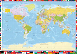 Large World Map Poster Wall Chart With Country Flags Colour Litho34