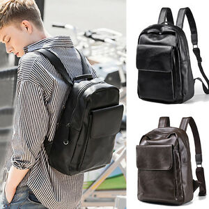 Men-039-s-Faux-Leather-Business-Backpack-Rucksack-Daypack-College-School-Book-bag