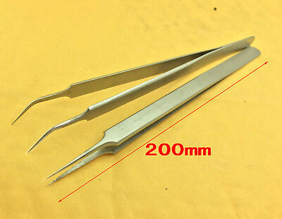 2PCS IC SMD needle nose Point Pointed Tip Curved Tweezers Eyebrows Tweezer bnib