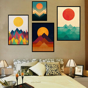 Image Is Loading Nordic Style Art Painting Abstract Wall Decor Sunrise
