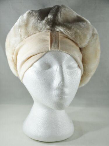 Vintage Ladies Hat Mod Clouche Turban Cream