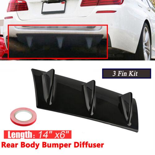 "Car ABS Spoiler Rear Shark Fin Style Curved Bumper Lip Diffuser 3 Fin SUV 14/""x6/"""