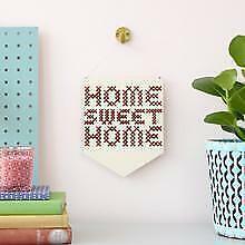 Clara Cotone Ricamo Kit-Home Sweet Home-grande in legno Banner Cross Stitch