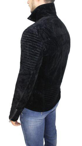 Cappotto uomo invernale Diamond scamosciato nero giubbotto montone invernale
