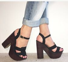 RIVER ISLAND Black Suede Extreme Platform Ankle Strap Block Heels Size 5 / 38