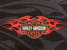 "Harley Davidson Logo fabric Panel Orange Flames Black/Gray Shield 17""X 35"" New"