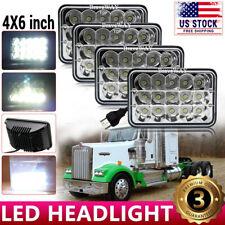 4pcs 4x6 75w Led Headlights Hi Lo Sealed Beam For Peterbilt Kenworth T800 W900 Fits Mustang