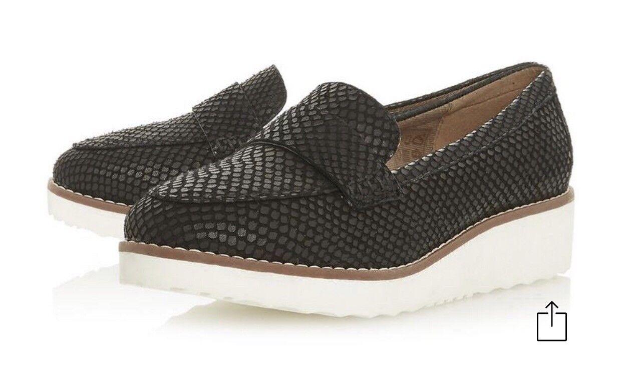 W 171 Dune London Womens Slip On Black WG Bessie Flatform Wide Fit Loafers Uk 3