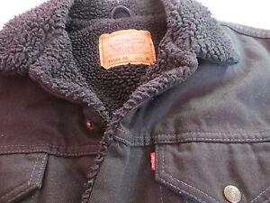 Levi's 71500 Slim Jacke Jeansjacke Gr. XL L Schwarzes Teddy Fell ! Black Denim !