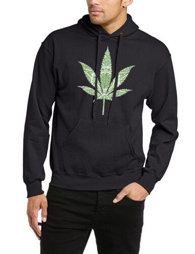 Felpa con cappuccio erba foglia marijuana cannabis fumo Swag HUF Raw Rock Hip Hop Unisex Top