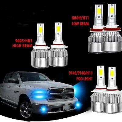 9005 H11 LED Headlight+9145 Fog Light for 2009-17 Dodge Ram 1500 2500 3500 4500
