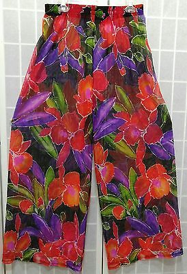 Vintage Carol Wior Bathing Suit Cover Up Pants Size L Floral Sheer Swimwear