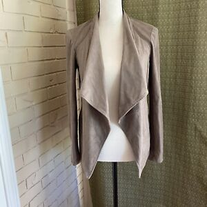 BB-Dakota-Open-Front-Jacket-Waterfall-Vegan-Suede-Leather-Taupe-X-Small-XS