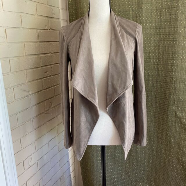 BB Dakota Open Front Jacket Waterfall Vegan Suede Leather Taupe X Small XS