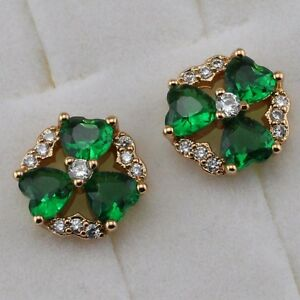 6cea5a6dde69c Beauty Emerald Green Three Heart Jewelry Yellow Gold Filled Stud ...