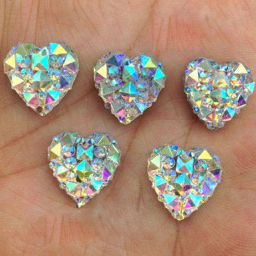 50pcs AB Crystal Heart Resin Charms Beads Rhinestones Craft DIY Jewelry Acces