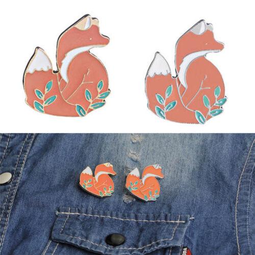 Émail mignon renard broche Broche Cartoon animal badge corsage broche  AS