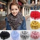 Womens Winter Warm Knitted 2 Circle Cable Tassel Neck Shawl Snood Scarf Cowl