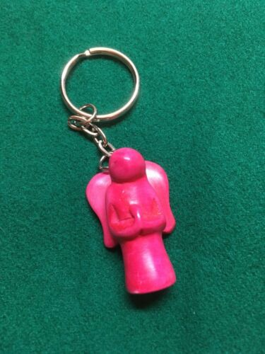 Small in Various Colours Wood Angel Coloured Keyring