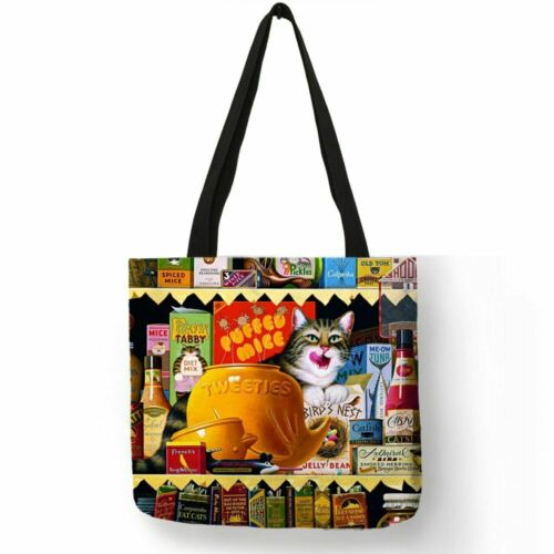 Oil Painting Cat Print Women Tote Bags Linen Reusable Shopping Bag Shoulder Bags