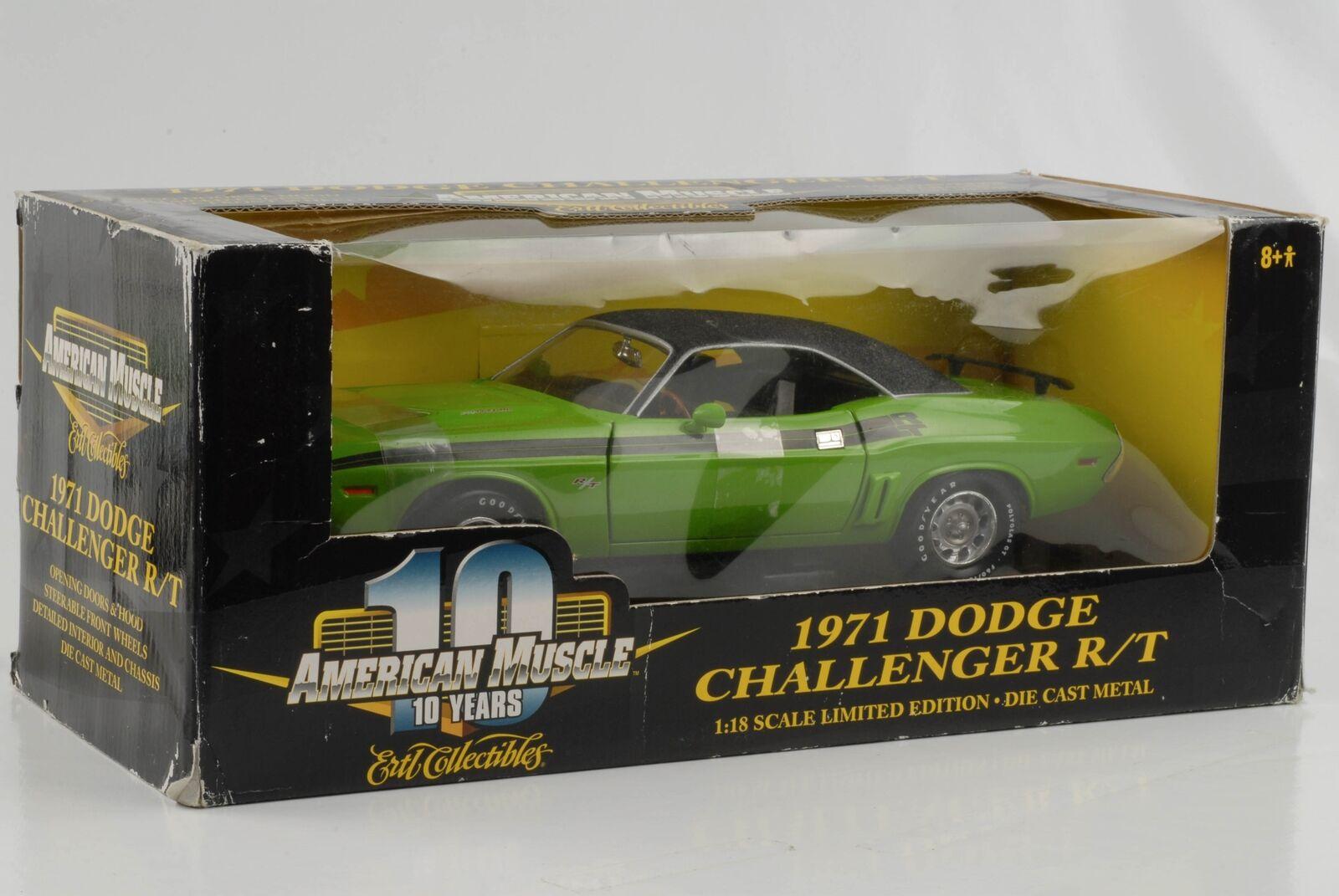 1971 Dodge Challenger R/T Lime Green Vinildach 1:18 Ertl