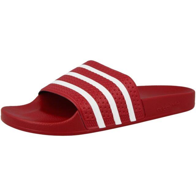 buy popular 31a8a 76b29 Adidas Adilette Ciabatte da Bagno Sandali Pantofole Scarpe Scarlatto Bianco