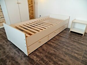 Kid's Bed Teen Bed Bunk Functional Single Bed 90x200cm IN White