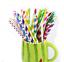 25//50//100Pcs Biodegradable Paper Drinking Straws Striped Birthday Wedding Party