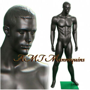 male display muscular mannequin black chacoal gray full body
