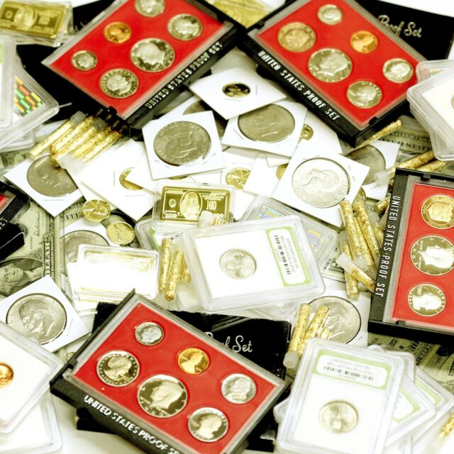 ESTATE SALE LOT U.S. SILVER COIN BANKNOTE BILL OLD RARE COINS PROOF SET GOLD