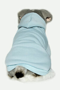 Baby-Blue-Fleece-Lined-Dog-Hoodie-Jumper-Coat-Back-Lengths-30-to-50cm