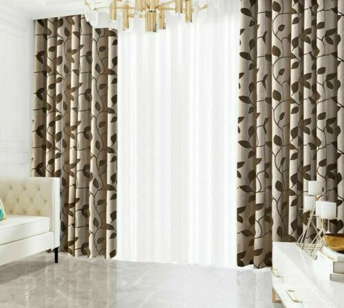 Jacquard Curtains Window Panels Leaves Patterned Modern Woven Home Decor Curtain