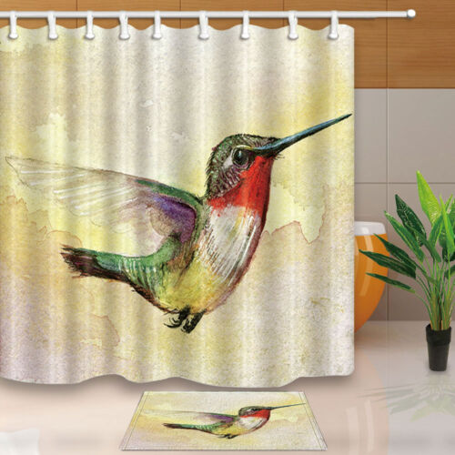Watercolor hummingbird Shower Curtain set birds Bathroom curtain With hooks 71/""