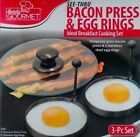 Bacon Press Egg Rings Pancake Breakfast Grill Glass Handy Gourmet Cooking