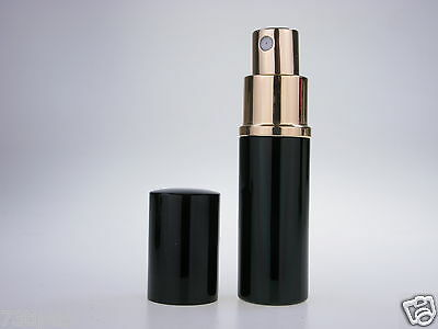 BLACK PERFUME ATOMIZER with FUNNEL, 10ML HANDBAG / TRAVEL / REFILLABLE