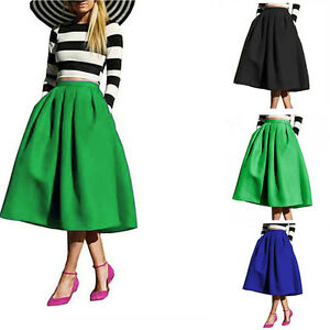 62493743d Retro High Waist Midi Knee Length Pleated A-Line Swing Bubble Skirt ...