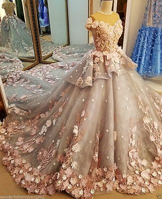 Cinderella Princess Bridal Ball Gown 3D Floral Wedding Dresses Sweep Train 2017