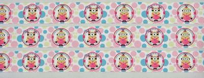 "BB Ribbon GIRLY MINIONS PINK 1m grosgrain 7/8"" 22mm girls hair bows movie"