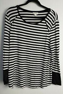 WITCHERY-Women-039-s-Black-amp-White-Striped-Long-Sleeve-Faux-Leather-Cuffs-Size-XL