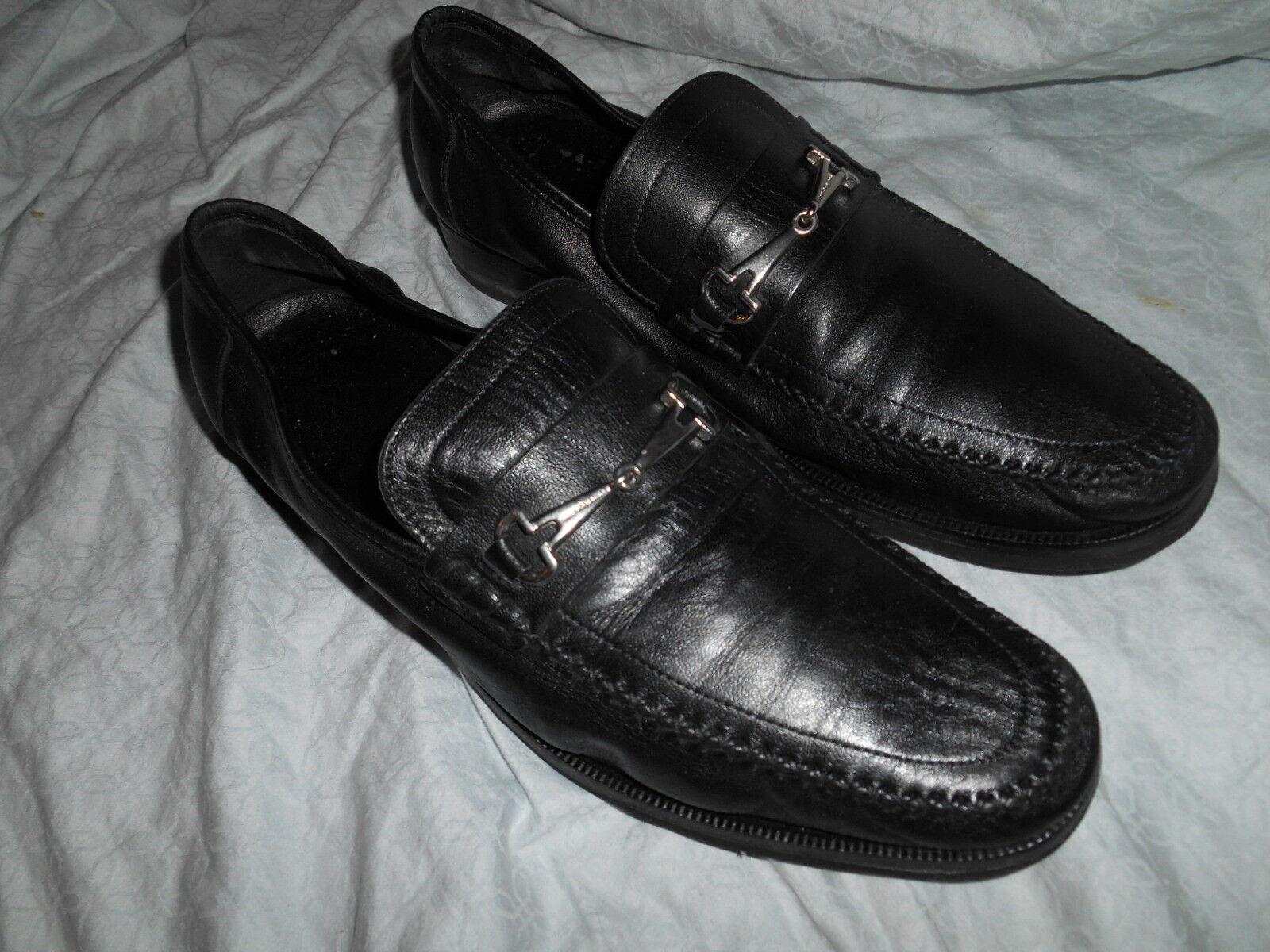 BcourirO MAGLI Noir Souple Cuir Mocassin Chaussures Taille 11 M douceHommest porté d'Italie.