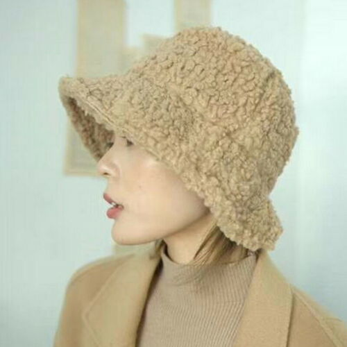 Winter Bucket Hat Solid Thickened Soft Warm Fishing Cap Plush Fluffy Hat 23