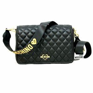 Woman-crossbody-LOVE-MOSCHINO-shoulder-bag-black-gold-logo-New-JC4212PP04KA0000