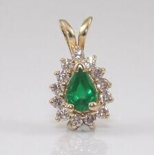 14K Yellow Gold Natural Emerald Diamond Halo Small Pendant ZD