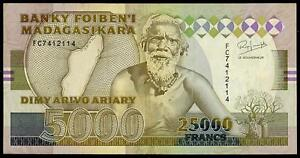 MADAGASCAR 5000 ARIARY = 25,000 FRANCS ND 1993 P 74A AU-UNC
