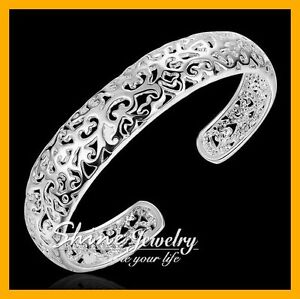 925-Sterling-Silver-Filled-13MM-Wide-FILIGREE-Chunky-Bracelet-Bangle-Ladies-CUFF