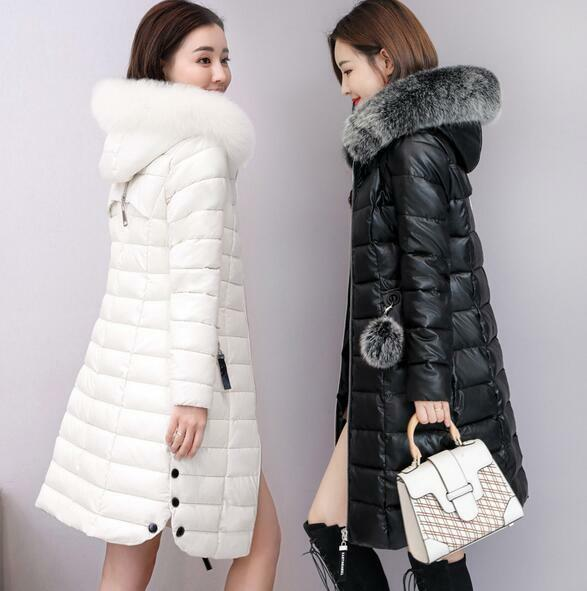 Women Leather Down Cotton Winter Warm Fur Collar Outdoor Hooded Coats