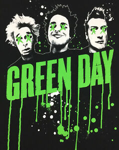 Green-Day-T-Shirt-Paint-Dripping-Tour-Concert-Band-Rock-Logo-Tee-Graphic-Size-L