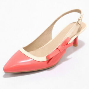 Women-Pumps-Shoes-Patent-Leather-Pointed-Toe-Kitten-Low-Heel-Slingbacks-Sandals