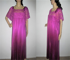 EXQUISITE KAYSER PURPLE WINE Nylon Rose Lace Long Maxi Nightgown M